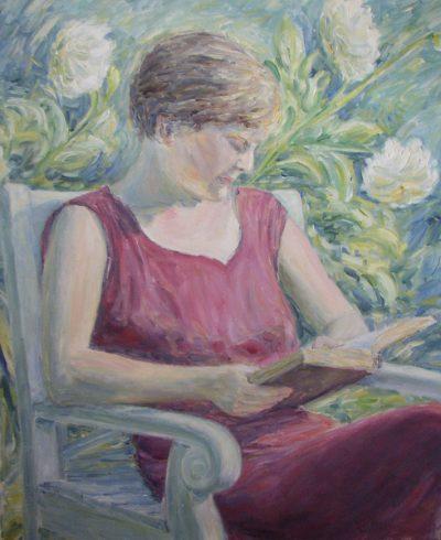 Meine Mutter Ruth beim lesen in Heidelberg 1954