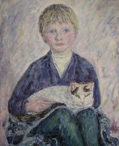 Sylvia meine Schwester mit Katze in Soest1964